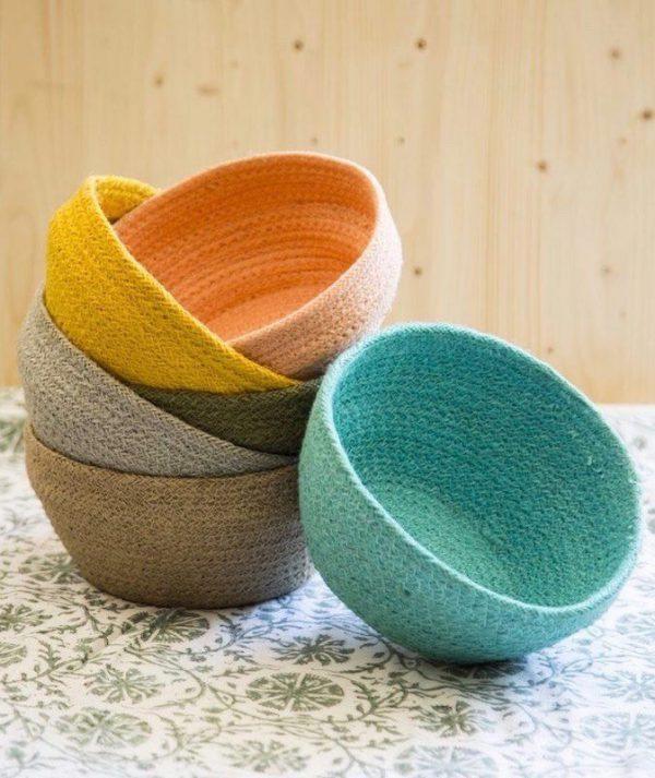lote de tres cestas de yute redondas